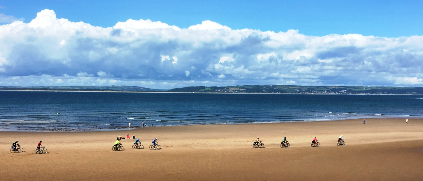 Cycling across Broughton Bay.